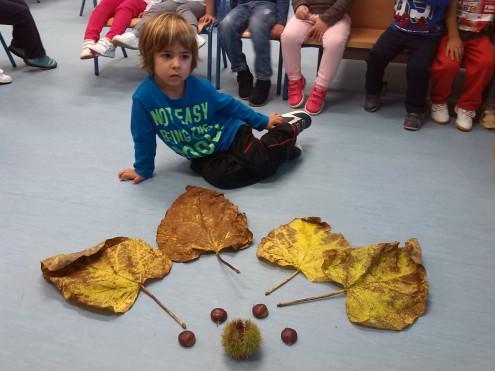 Elio con su tesoro de otoño