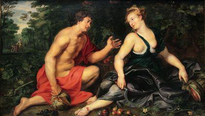 Vertumno y Pomona por Peter Paul Rubens, 1617-1619, Colección privada de Madrid